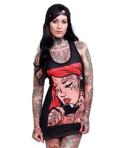 Liquor Brand Damen CALL ME Tank-Tops.Tattoo,Biker,Pin up,Rockabilly,Custom Style