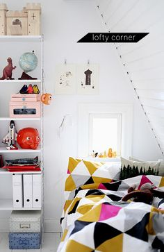 In Honor Of Design: Take 3: A lofty corner, Mismatched Chairs, Stripes & Dots