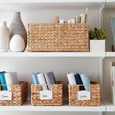 Water Hyacinth Storage Bins with Handles - Organizer - Kitchen Organization Pantry, Pantry Storage, Cube Storage, Kitchen Pantry, Storage Baskets, Home Organization, Organizing, Pantry Labels, Storage Ideas