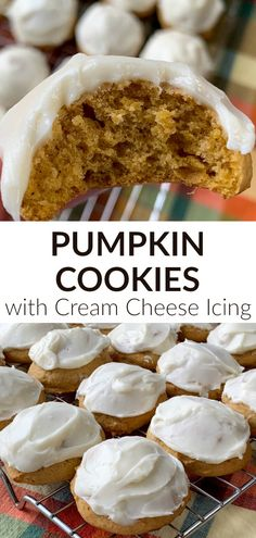 These moist and fluffy pumpkin cookies with a rich and creamy cream cheese icing tastes like fall and keeps you coming back for more.  Pumpkin cookies with cream cheese icing are one of our favorite fall recipes.  Sweet and creamy icing creates a perfect balance for the flavors in this easy pumpkin dessert. Traditional Thanksgiving Recipes, Easy Thanksgiving Recipes, Fall Recipes, Potluck Recipes, Cream Cheese Cookies, Cream Cheese Icing, Pumpkin Cookies, Pumpkin Dessert, Pumpkin Recipes