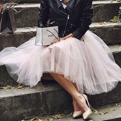 Tutu skirt and black leather jacket -  womens outfit for 2015 - new year's day - Chanel
