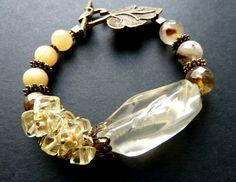 Большой кварц Цитрин Агат Коренастый браслет Акварели тонкий цвет от светло-желтого до ледяным Antiqued бронзовые детали замечательные подарки для