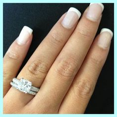 cushion cut, micro pave engagement ring   micro pave wedding band