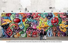 Artwork of graffiti artist, Kenny Scharf's street mural of the Graffiti Painting, Graffiti Murals, Murals Street Art, Street Art Graffiti, Houston Murals, Kenny Scharf, Claes Oldenburg, Art Rules, Visual And Performing Arts