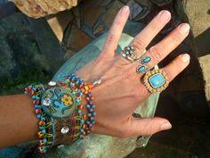 bling OM LEATHER cuff BRACELET swarovski crystals by GPyoga