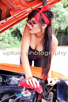 Pin Up Mechanic ~ 1973 Dodge Challenger ~ Pin Up photography by Upfold Photography, Auckland, NZ. ~ www.upfoldphotography.co.nz ~