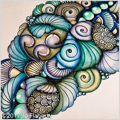 Zen Doodle Patterns, Zentangle Patterns, Zentangles, Watercolor Effects, Watercolor Art, Diy Crafts And Hobbies, Pencil Drawing Tutorials, Meditation Art, Tangle Art
