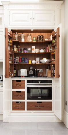 47 Kitchen Coffee Station Ideas for A Beautiful Caffeine Boost at Home Coffee Station Kitchen, Coffee Bars In Kitchen, Coffee Bar Home, Home Coffee Stations, Kitchen Cabinets Decor, Cabinet Decor, Cabinet Design, Kitchen Appliances, Single Coffee Maker