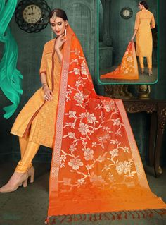 Buy Orange Chanderi Silk Readymade Churidar Salwar Suit 129887 online at lowest price from huge collection of salwar kameez at Indianclothstore.com. Churidar, Salwar Kameez, Indian Outfits, Indian Clothes, Shopping Websites, Salwar Suits, Sari, Fashion Outfits, Orange