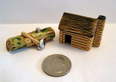 Arcadia Mini Log w AX Log Cabin Salt Pepper Shakers Miniature   eBay