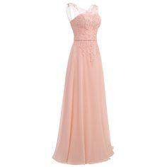 Pink Floor-Length Chiffon Long Bridesmaid Dress - Uniqistic.com