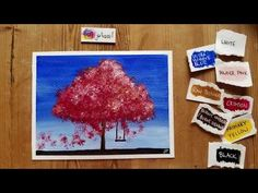 Today I'll show you how to paint a Tree with a swing using acrylics! Art Tutorials, Acrylics, Red And White, Make It Yourself, Creative, Youtube, Painting, Painting Art, Paintings