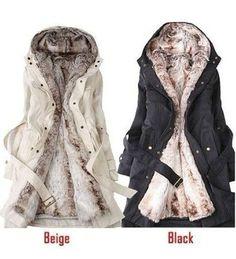 Women's Thicken Fleece Faux Fur Warm Winter Coat Hood Parka Overcoat Long Jacket #Handmade #BasicCoat