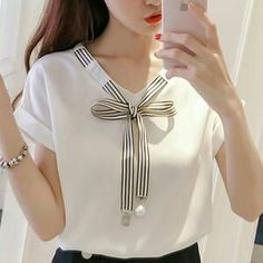 2019 Womens Tops And Blouses mujer de moda Chiffon Cool Ladies Korean Style Chemisier Femme Fashion Clothing Summer Female Bow Dress Neck Designs, Blouse Designs, Super Moda, Kurta Neck Design, Korean Fashion Trends, Summer Outfits Women, Blouse Styles, Stylish Outfits, Blouses For Women