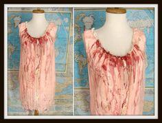 Bloody #Zombie Girl Nightie Custom Made #Costume Peach Lingerie Zombie Slumber Party S M by wardrobetheglobe, $40.00