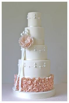 beautiful wedding cake with peony Little Boutique Bakery https://www.facebook.com/LittleBoutiqueBakery?fref=ts
