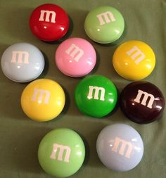 """10 M M's Round Metal Tins Candy Shaped 3"""" Container Lot of 10 Multi Mixed Colors 