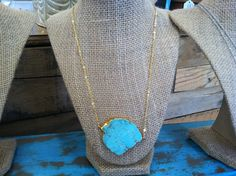 24K Gold plated Turquoise Howlite Necklace Only $32