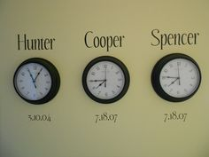Capture moments in time. Hang clocks (stopped at the time of each child's birth)