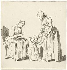 Lopend kind bij twee vrouwen, Benjamin Martini, 1777 - 1780