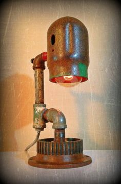 Found Object Functional Sculpture - Up-cycled Lamp - Painter's Rage ©