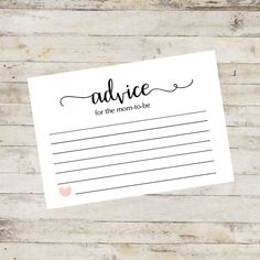 Advice Card Baby Shower Games Baby Advice for by DancinDandelions