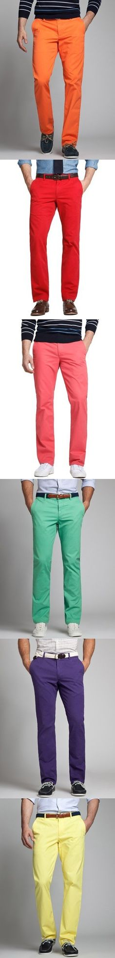#Chinos #Trousers #Orange #Red #Pink #Green #Blue #Yellow #Rainbow #Preppy