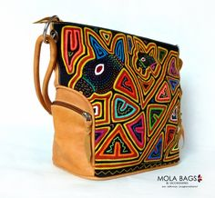 Leather Bags – Shoulder Leather Bag with Textil Mola – a unique product by MolaBags on DaWanda