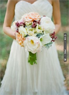 gorgeous bouquet wrapped with green silk by | VIA #WEDDINGPINS.NET