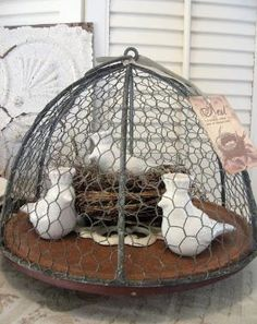 Wire cloche - use an empty hanging basket frame, cover with chicken wire   ********************************************* Timewashed - #wire #projects #crafts #cloche #chicken #nest #home #decor - tå√    TIMEWASHED: Crowned Chirp Fun!! by susangir