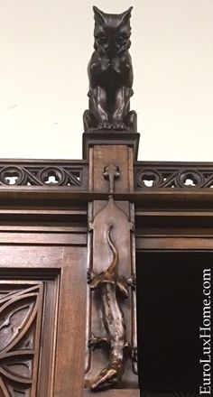 Cool carved cats! Just arrived, this antique Gothic buffet with purrrfectly carved cats on top looking down on carved salamanders. It's not even in our antiques store yet, we need to take good photos to add it to our website, but we can't wait to share the photo!