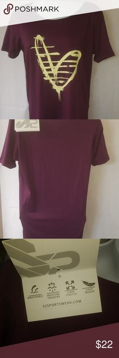 S2 Sportswear Size Medium Purple Yellow Heart S2 Sportswear Size Medium Purple Yellow Heart Short Sleeve Tshirt new with tags s2 Tops Tees - Short Sleeve