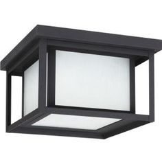 Sea Gull Lighting Hunnington 2-Light Outdoor Black Fluorescent Flushmount with Seeded Etched Glass-79039BLE-12 - The Home Depot
