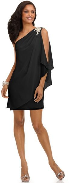 I Love this One Shoulder Draped Evening Dress