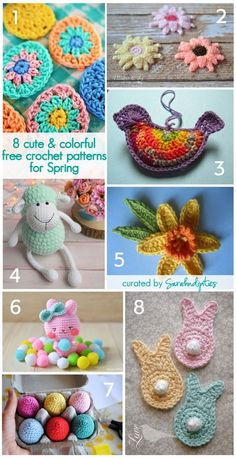 Easter is just around the corner, and I wanted to share some of the cute crochet projects I've been seeing around the web lately! You all know how much I love color, so I'm adding my especially favorite colorful Spring creations here! Here's my curated list of Eight Cute & Colorful FREE Crochet Patterns for Spring!