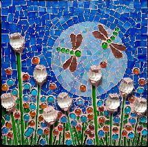 Tile mosaic dragonflies & roses