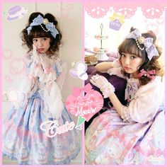 sucre-dolls:  Risa Nakamura wearing Dolly Cat series by Angelic Pretty /image from AP_CANDY