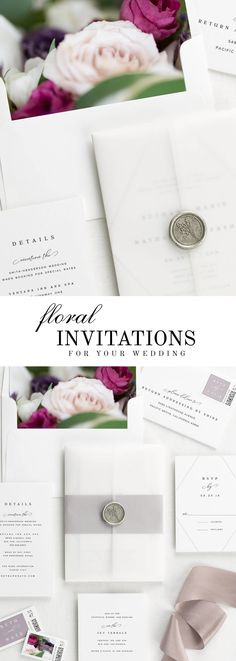 the Bethany wedding invitation suite, paired with Anastasia florals. Anastasia features baroness garden roses, white and purple lisianthus, and italian ruscus.