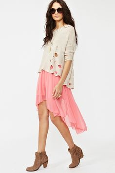 coral chiffon high low skirt