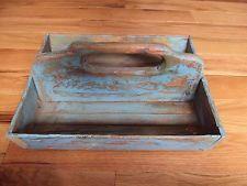 Antique CUTLERY TRAY KNIFE BOX BLUE PAINT Folk Art Primitive