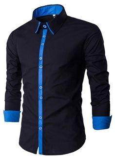 Camisa Moderna Negra Lisa con Detalle en Contraste - en Azul y Rojo Formal  Shirts For 36d1950fc3dee