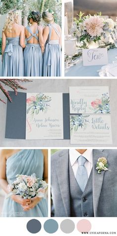 Dusty blue wedding with blue groomsmen. Dusty blue bridesmaids and bouquet. Invitations by Unica Forma