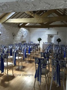 Bickley mill inn wedding, royal blue and lace sashes.
