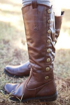 Brown Riding boots with buttons. I wish I had calves thin enough to wear these!  Someday.......