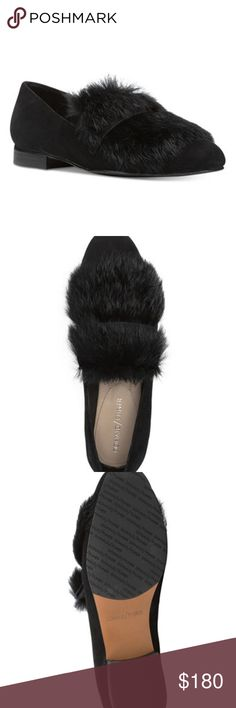 BRAND NEW! Donald J Pliner Lilian Loafers Brand New In Box! Black suede and rabbit fur loafers. Perfect for work or play. Size 8.5 fit like 9 Donald J. Pliner Shoes Flats & Loafers