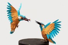 Diana Beltran Herrera uses paper to create intricate models of her Bird Paper Art Sculptures (bird21 ?) ♥•♥•♥