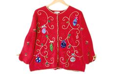 Ornaments and Swirls Tacky Ugly Christmas Sweater Women's Plus Size 2X $22
