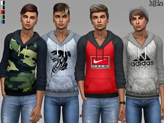 -Some cool hoodies for your male sims  Found in TSR Category 'Sims 4 Male Everyday'