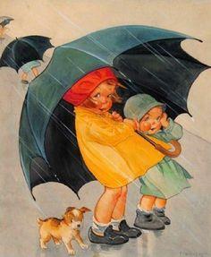 Vintage Illustration Vintage Postcard of Spring Rainl Deco Era - Art Vintage, Vintage Prints, Vintage Pictures, Vintage Images, Rain Art, Umbrella Art, Art Deco Era, Children's Book Illustration, Illustration Children