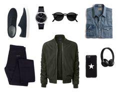 """Black n' jeans"" by giilerme on Polyvore featuring J.Crew, LE3NO, Givenchy, Uniqlo, Giorgio Armani, Beats by Dr. Dre, men's fashion e menswear"